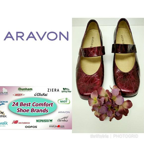 Aravon Shoes - Aravon Patent Leather Maroon Mary Jane Shoes-7.5